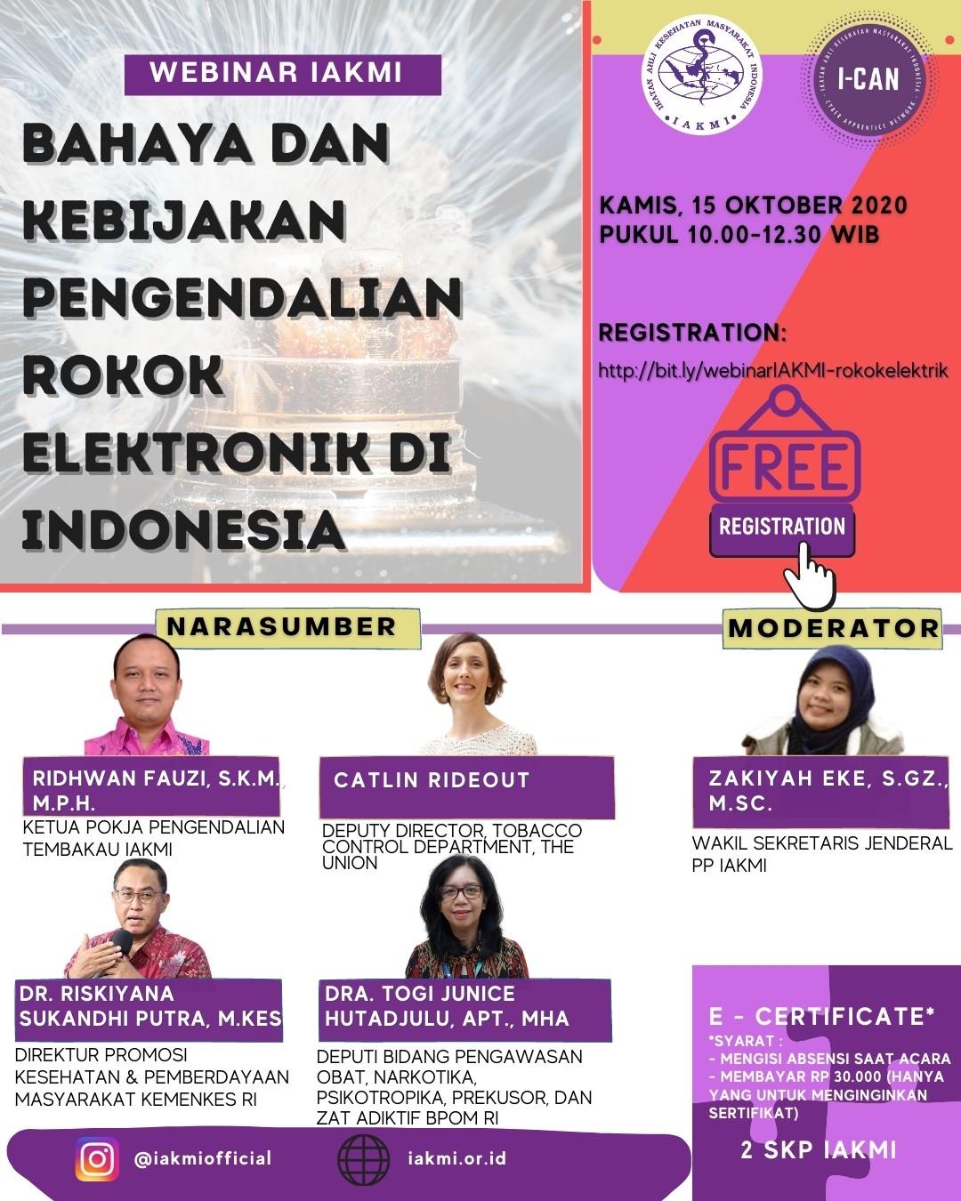 PRESS RELEASE BAHAYA ROKOK ELEKTRONIK DAN STATUS KEBIJAKAN DI INDONESIA