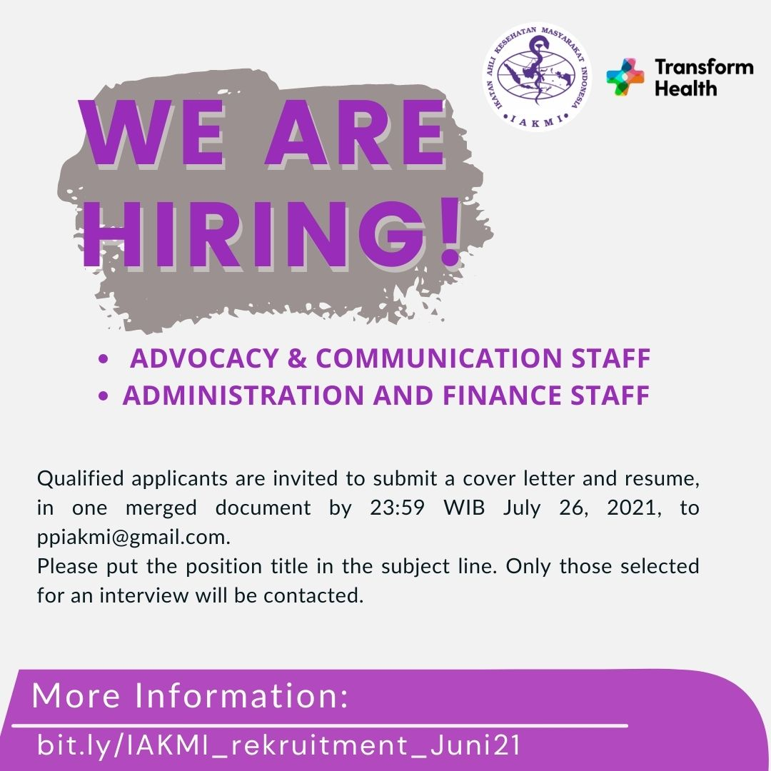 PUBLIC HEALTH JOB VACANCIES: Transform Health National Coordinating Partner-Indonesia    Harnessing Digital Technology and the Use of Data to support the Achievement of    Universal Health Cover agein 2030